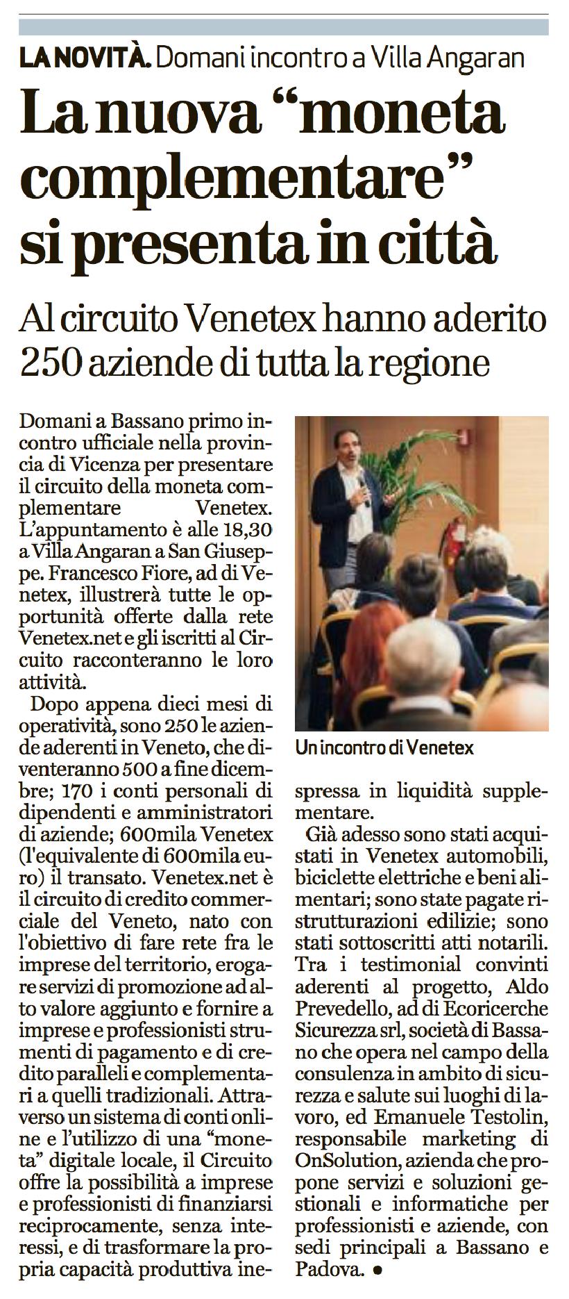 Il Giornale di Vicenza 9 maggio 2017