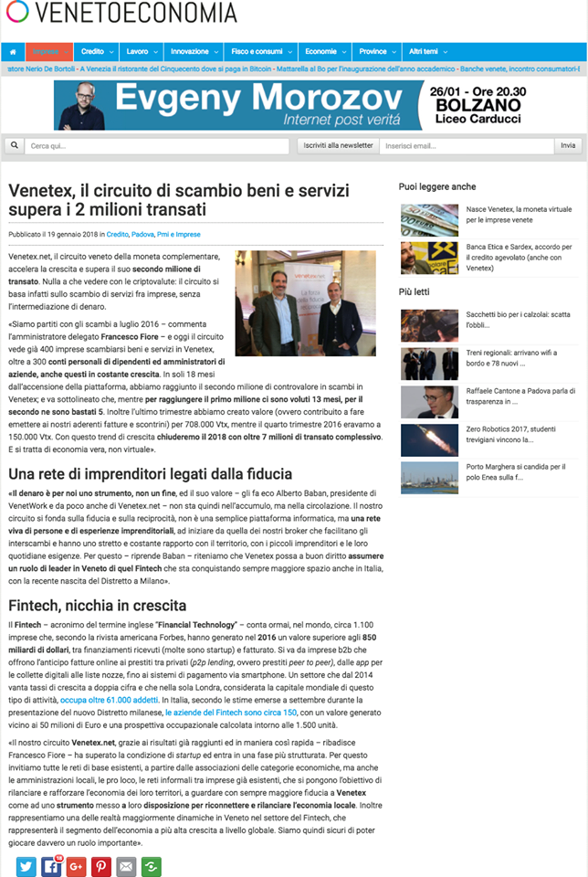 Venetoeconomia - 19 gennaio 2018