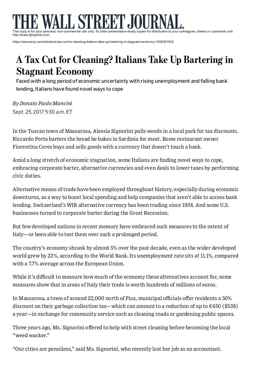 Wall Street Journal  - 25 settembre 2017